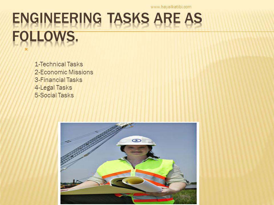  1-Technical Tasks 2-Economic Missions 3-Financial Tasks 4-Legal Tasks 5-Social Tasks www.hayalkatibi.com