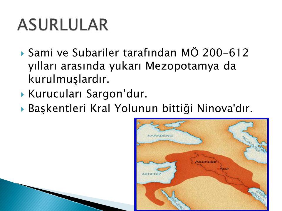  Sami ve Subariler tarafından MÖ 200-612 yılları arasında yukarı Mezopotamya da kurulmuşlardır.  Kurucuları Sargon'dur.  Başkentleri Kral Yolunun b