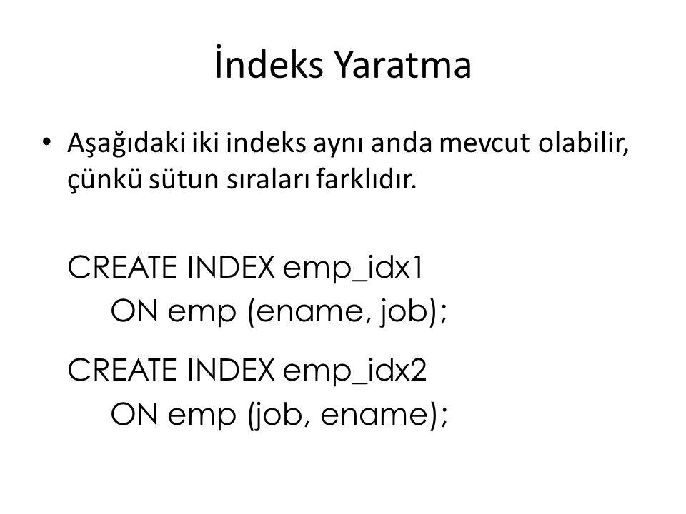 İndeks Yaratma Aşağıdaki iki indeks aynı anda mevcut olabilir, çünkü sütun sıraları farklıdır.