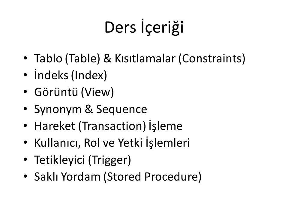 Ders İçeriği Tablo (Table) & Kısıtlamalar (Constraints) İndeks (Index) Görüntü (View) Synonym & Sequence Hareket (Transaction) İşleme Kullanıcı, Rol ve Yetki İşlemleri Tetikleyici (Trigger) Saklı Yordam (Stored Procedure)