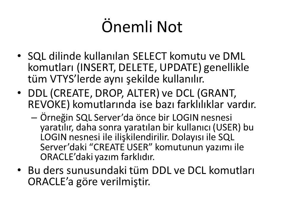 Önemli Not SQL dilinde kullanılan SELECT komutu ve DML komutları (INSERT, DELETE, UPDATE) genellikle tüm VTYS'lerde aynı şekilde kullanılır.