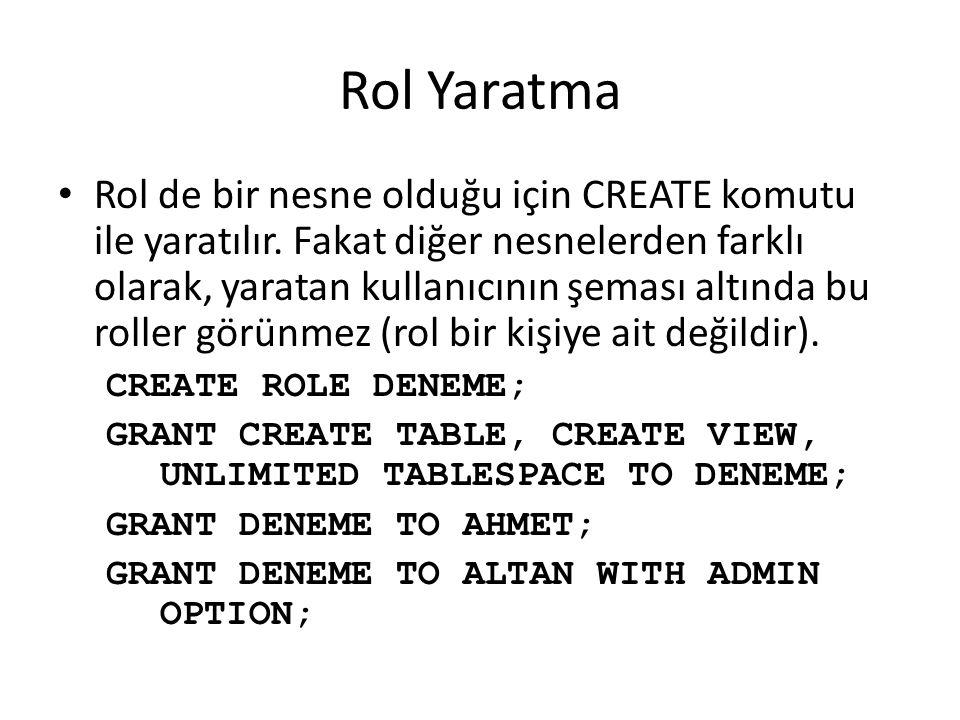 Rol Yaratma Rol de bir nesne olduğu için CREATE komutu ile yaratılır.