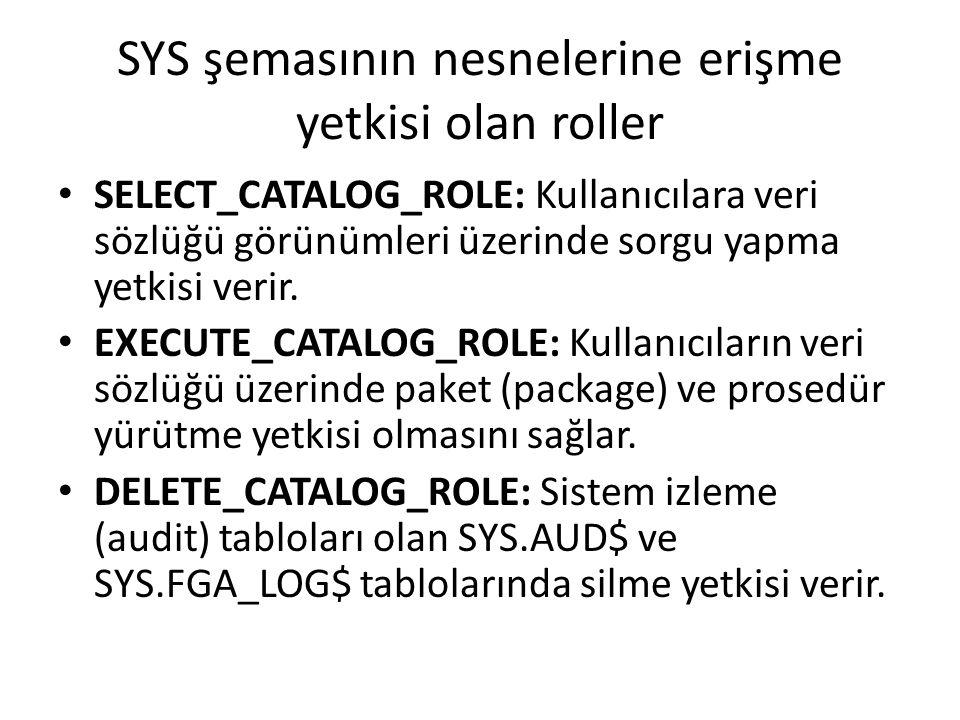 SYS şemasının nesnelerine erişme yetkisi olan roller SELECT_CATALOG_ROLE: Kullanıcılara veri sözlüğü görünümleri üzerinde sorgu yapma yetkisi verir.