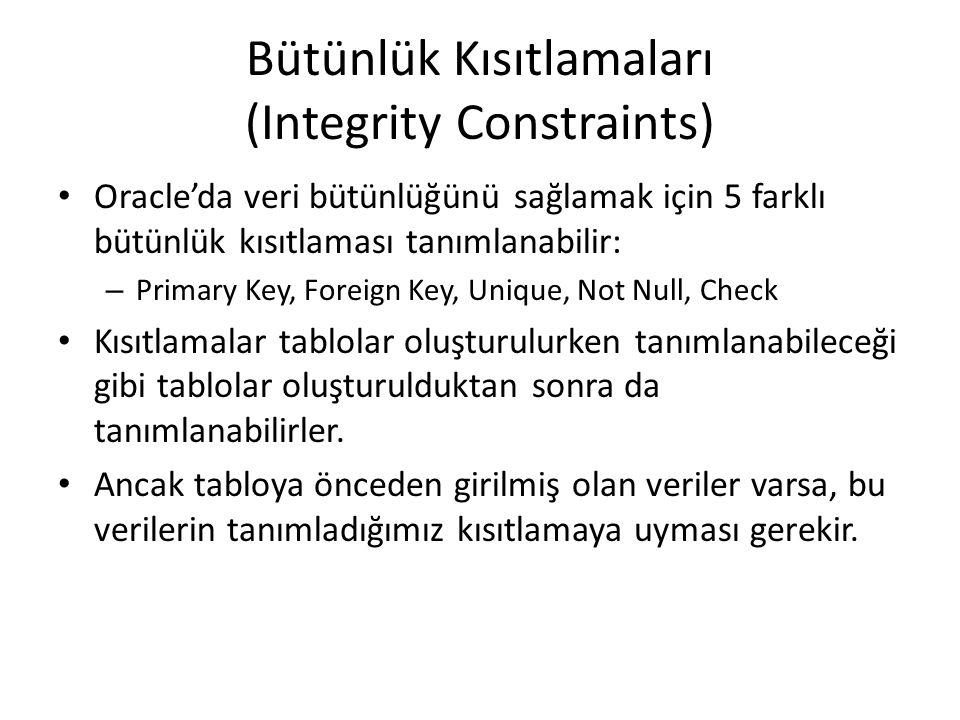 Bütünlük Kısıtlamaları (Integrity Constraints) Oracle'da veri bütünlüğünü sağlamak için 5 farklı bütünlük kısıtlaması tanımlanabilir: – Primary Key, Foreign Key, Unique, Not Null, Check Kısıtlamalar tablolar oluşturulurken tanımlanabileceği gibi tablolar oluşturulduktan sonra da tanımlanabilirler.