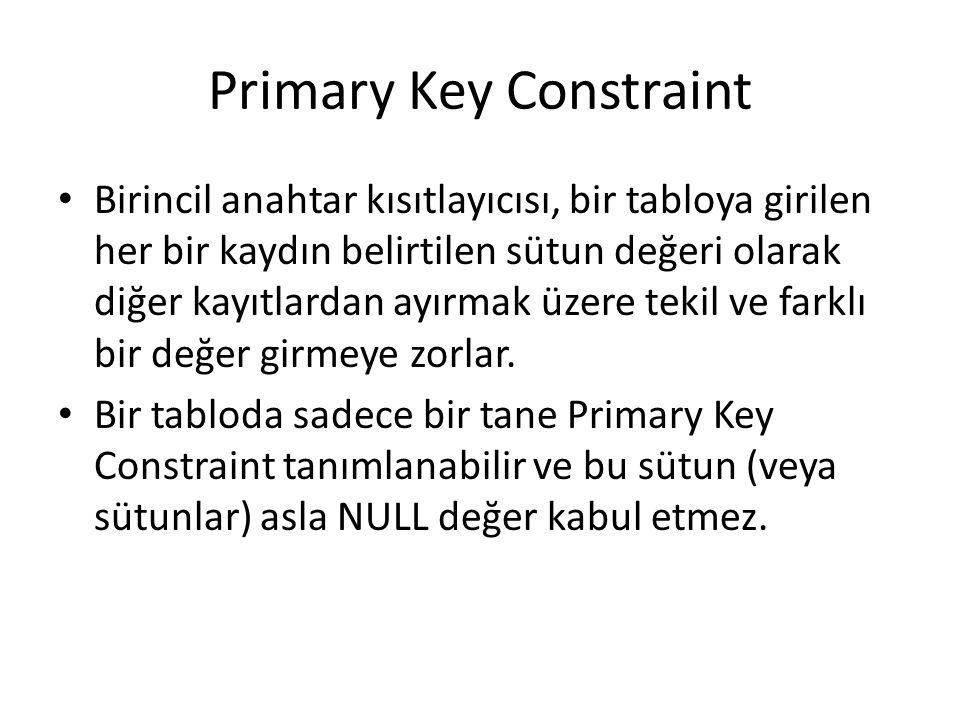 Primary Key Constraint Birincil anahtar kısıtlayıcısı, bir tabloya girilen her bir kaydın belirtilen sütun değeri olarak diğer kayıtlardan ayırmak üzere tekil ve farklı bir değer girmeye zorlar.
