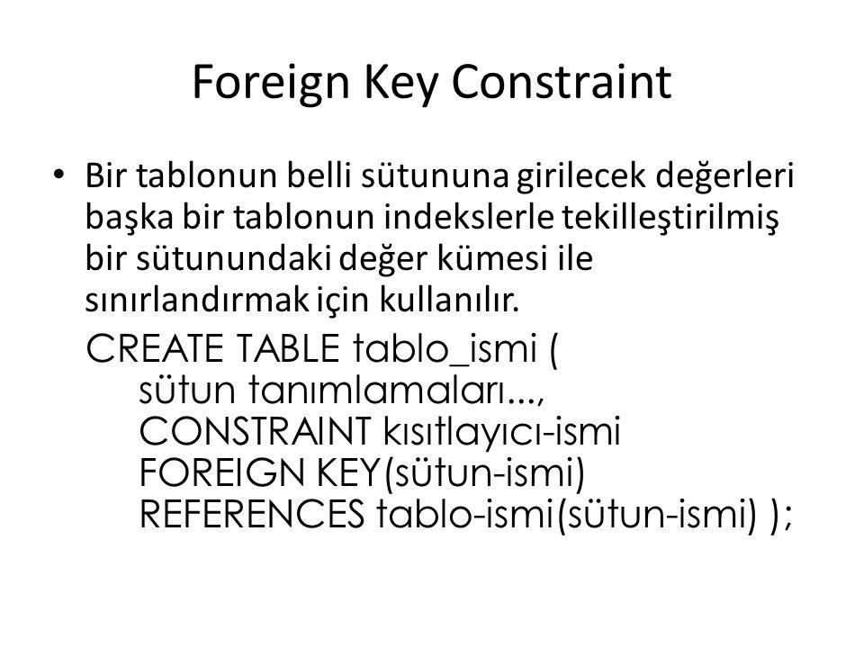 Foreign Key Constraint Bir tablonun belli sütununa girilecek değerleri başka bir tablonun indekslerle tekilleştirilmiş bir sütunundaki değer kümesi ile sınırlandırmak için kullanılır.