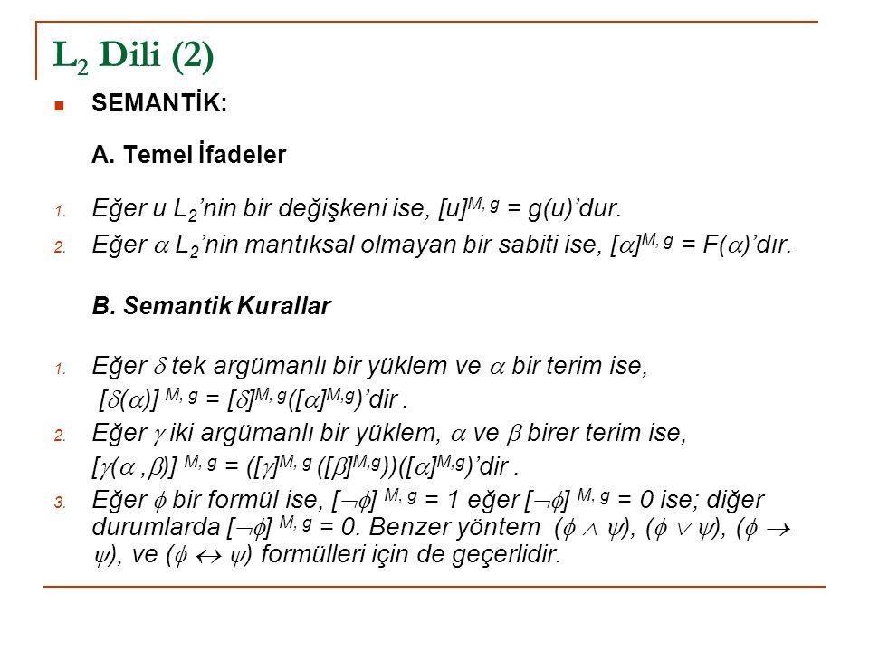 L 2 Dili (2) SEMANTİK: A. Temel İfadeler 1. Eğer u L 2 'nin bir değişkeni ise, [u] M, g = g(u)'dur. 2. Eğer  L 2 'nin mantıksal olmayan bir sabiti is