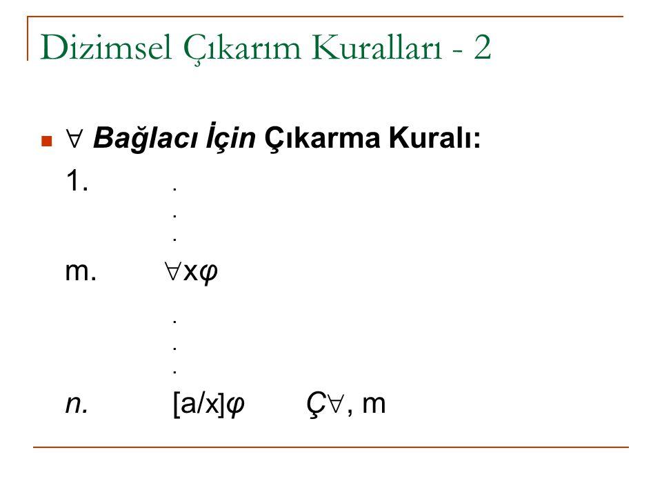 Dizimsel Çıkarım Kuralları - 2  Bağlacı İçin Çıkarma Kuralı: 1... m.  xφ. n. [a/ x] φ Ç , m