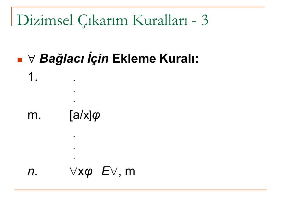 Dizimsel Çıkarım Kuralları - 3  Bağlacı İçin Ekleme Kuralı: 1... m. [a/ x] φ. n.  xφ E , m