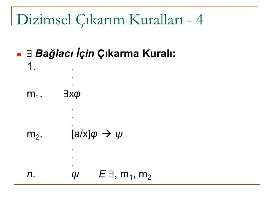 Dizimsel Çıkarım Kuralları - 4  Bağlacı İçin Çıkarma Kuralı: 1... m 1.  x φ. m 2.[a/x]φ  ψ. n. ψ E , m 1, m 2