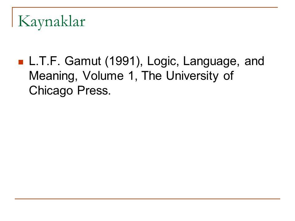 Kaynaklar L.T.F. Gamut (1991), Logic, Language, and Meaning, Volume 1, The University of Chicago Press.