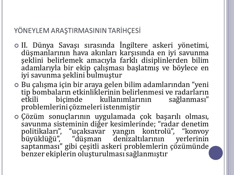 YÖNEYLEM ARAŞTIRMASI TEKNİKLERİ 2.