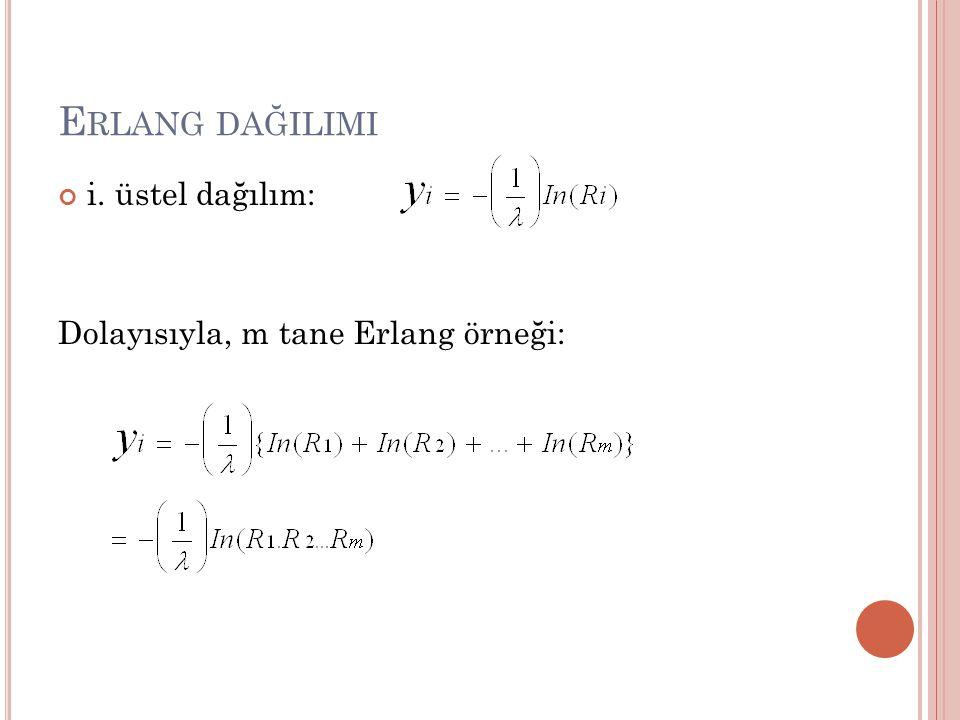 E RLANG DAĞILIMI i. üstel dağılım: Dolayısıyla, m tane Erlang örneği: