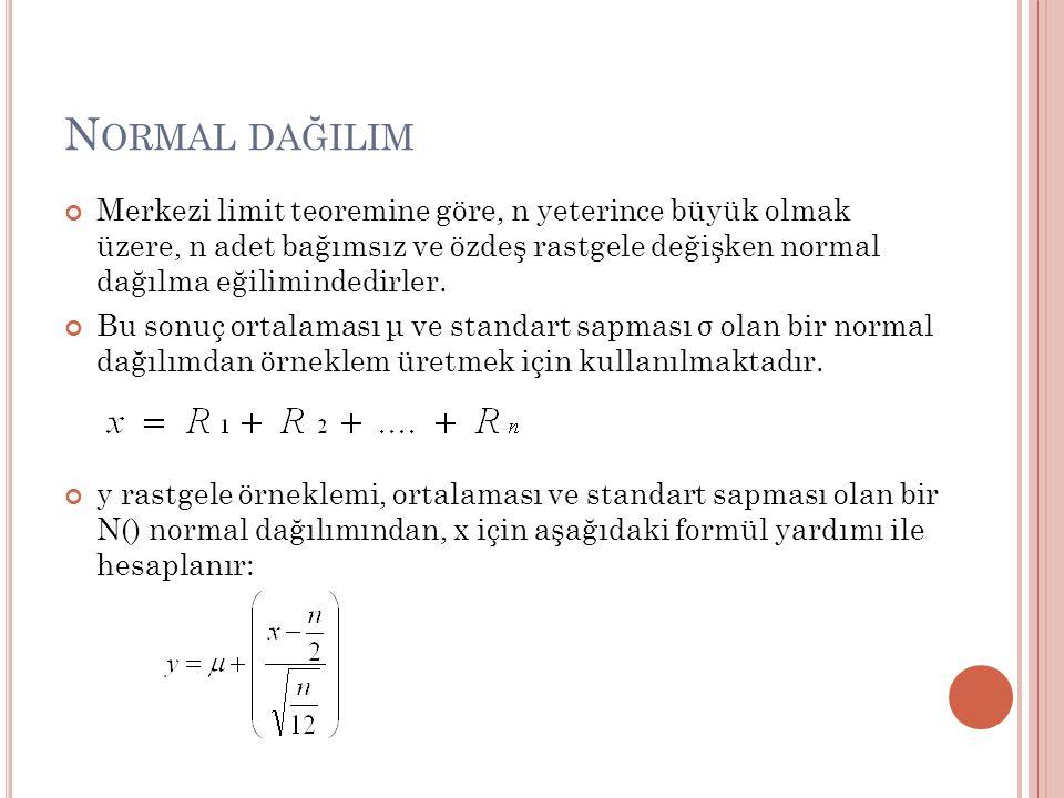 N ORMAL DAĞILIM Merkezi limit teoremine göre, n yeterince büyük olmak üzere, n adet bağımsız ve özdeş rastgele değişken normal dağılma eğilimindedirler.