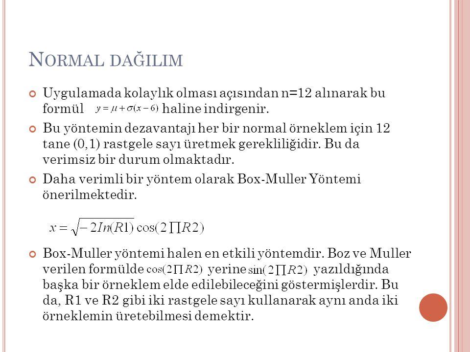 N ORMAL DAĞILIM Uygulamada kolaylık olması açısından n=12 alınarak bu formül haline indirgenir.
