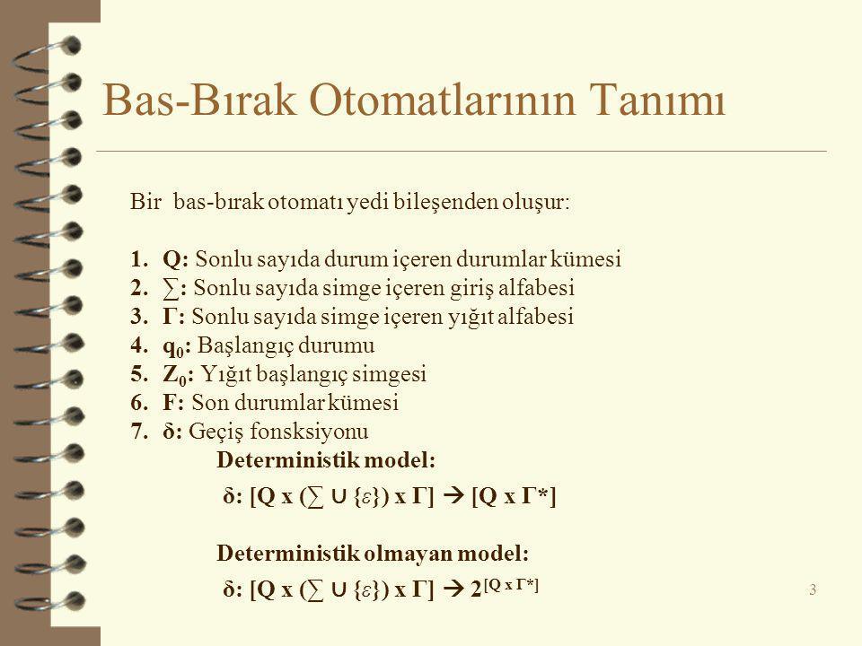 Örnek - 1  L = {wcw R } | w ∈ {0,1} * } 4  δ: δ(q 0, 0, Z 0 ) = (q 0, 0Z 0 ) δ(q 0, 1, Z 0 ) = (q 0, 1Z 0 ) δ(q 0, c, Z 0 ) = (q 1, Z 0 ) δ(q 0, 0, 0) = (q 0, 00) δ(q 0, 1, 0) = (q 0, 10) δ(q 0, 0, 1) = (q 0, 01) δ(q 0, 1, 1) = (q 0, 11) δ(q 0, c, 0) = (q 1, 0) δ(q 0, c, 1) = (q 1, 1) δ(q 1, 0, 0) = (q 1, ε) δ(q 1, 1, 1) = (q 1, ε) δ(q 1, ε, Z 0 ) = (q 1, ε)  M =  Q = {q 0, q 1 }  ∑ = {0, 1, c}  Γ = {0, 1, Z 0 }