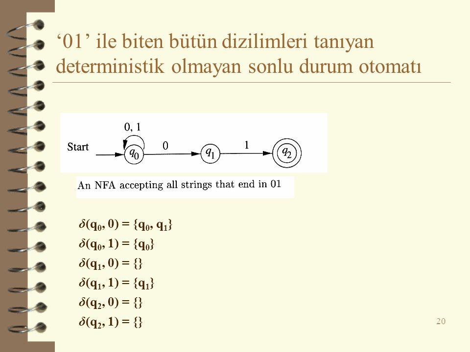 '01' ile biten bütün dizilimleri tanıyan deterministik olmayan sonlu durum otomatı 20 δ(q 0, 0) = {q 0, q 1 } δ(q 0, 1) = {q 0 } δ(q 1, 0) = {} δ(q 1,