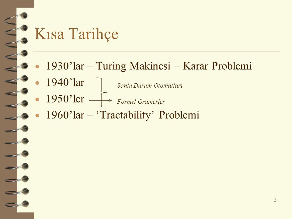 Kısa Tarihçe  1930'lar – Turing Makinesi – Karar Problemi  1940'lar  1950'ler  1960'lar – 'Tractability' Problemi 3 Sonlu Durum Otomatları Formel
