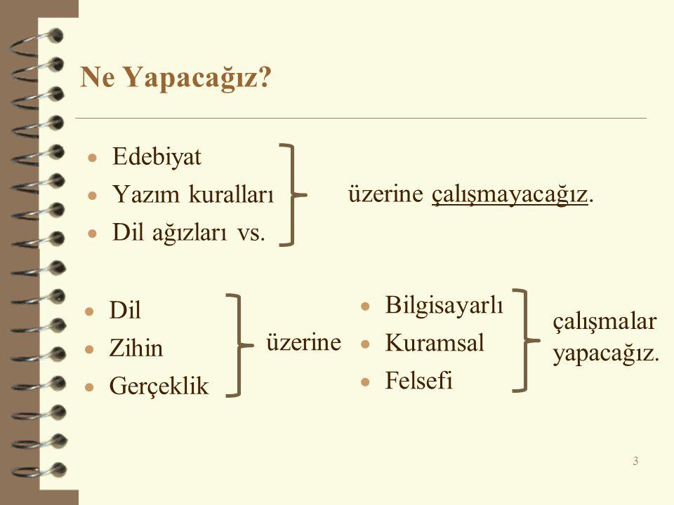Ne Yapacağız? 3  Dil  Zihin  Gerçeklik  Bilgisayarlı  Kuramsal  Felsefi üzerine çalışmalar yapacağız.  Edebiyat  Yazım kuralları  Dil ağızlar