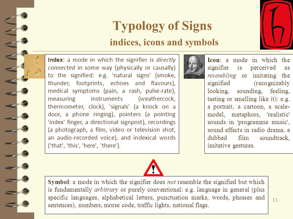 Typology of Signs indices, icons and symbols 11 Icon: a mode in which the signifier is perceived as resembling or imitating the signified (recognizabl