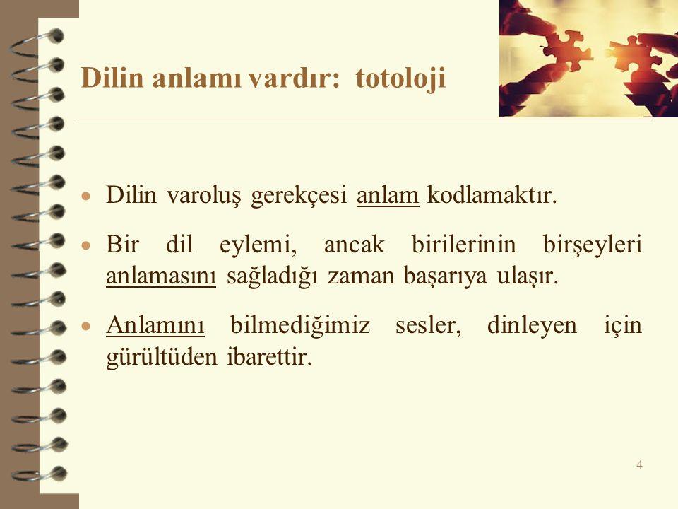 Dilin anlamı vardır: totoloji  Dilin varoluş gerekçesi anlam kodlamaktır.