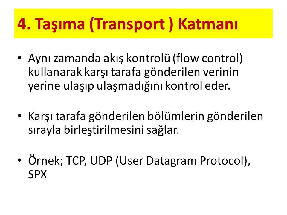 4. Taşıma (Transport ) Katmanı Aynı zamanda akış kontrolü (flow control) kullanarak karşı tarafa gönderilen verinin yerine ulaşıp ulaşmadığını kontrol