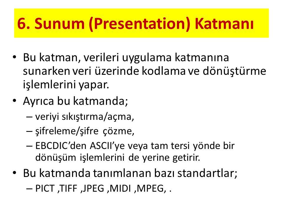 6. Sunum (Presentation) Katmanı Bu katman, verileri uygulama katmanına sunarken veri üzerinde kodlama ve dönüştürme işlemlerini yapar. Ayrıca bu katma