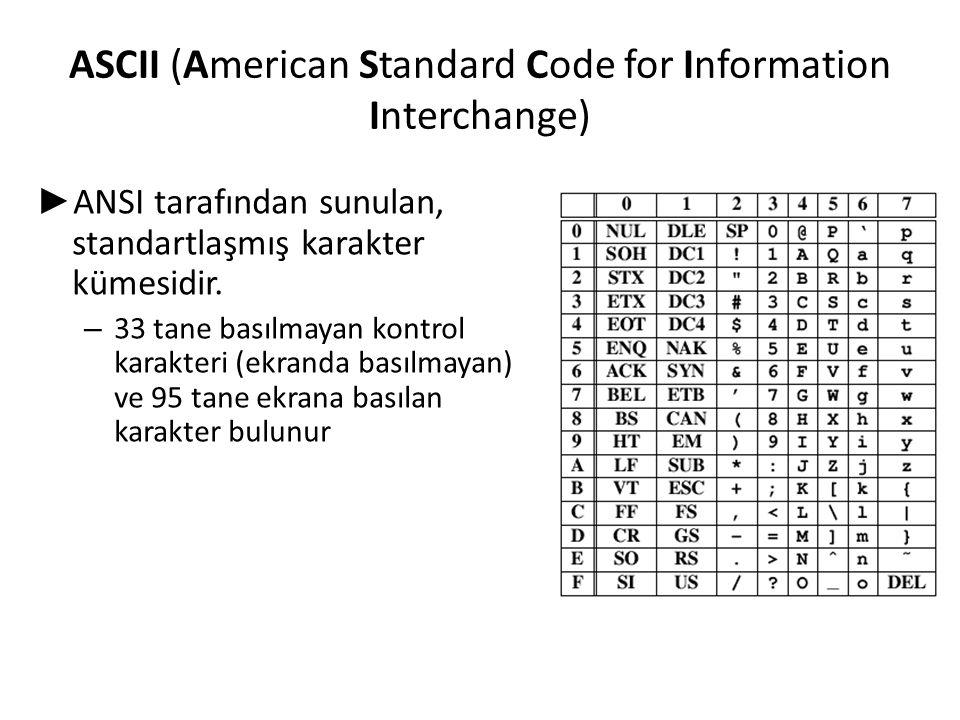 ASCII (American Standard Code for Information Interchange) ► ANSI tarafından sunulan, standartlaşmış karakter kümesidir. – 33 tane basılmayan kontrol