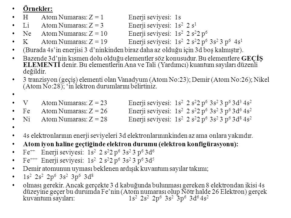 Örnekler: HAtom Numarası: Z = 1Enerji seviyesi: 1s LiAtom Numarası: Z = 3Enerji seviyesi: 1s 2 2 s 1 NeAtom Numarası: Z = 10Enerji seviyesi: 1s 2 2 s