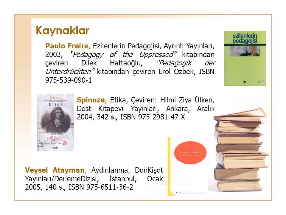 Spinoza, Etika, Çeviren: Hilmi Ziya Ülken, Dost Kitapevi Yayınları, Ankara, Aralık 2004, 342 s., ISBN 975-2981-47-X Paulo Freire, Ezilenlerin Pedagoji