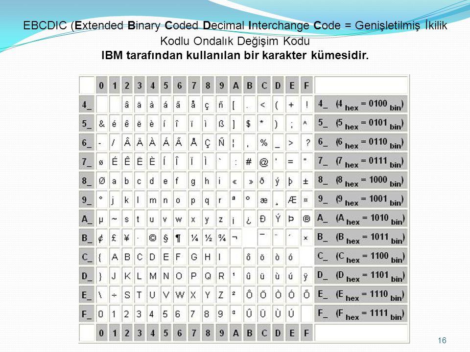 07.09.2014 16 EBCDIC (Extended Binary Coded Decimal Interchange Code = Genişletilmiş İkilik Kodlu Ondalık Değişim Kodu IBM tarafından kullanılan bir karakter kümesidir.