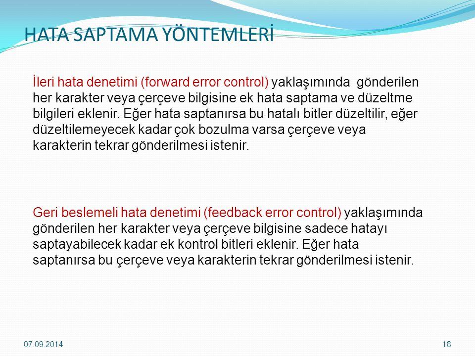 HATA SAPTAMA YÖNTEMLERİ 07.09.201418 İleri hata denetimi (forward error control) yaklaşımında gönderilen her karakter veya çerçeve bilgisine ek hata saptama ve düzeltme bilgileri eklenir.