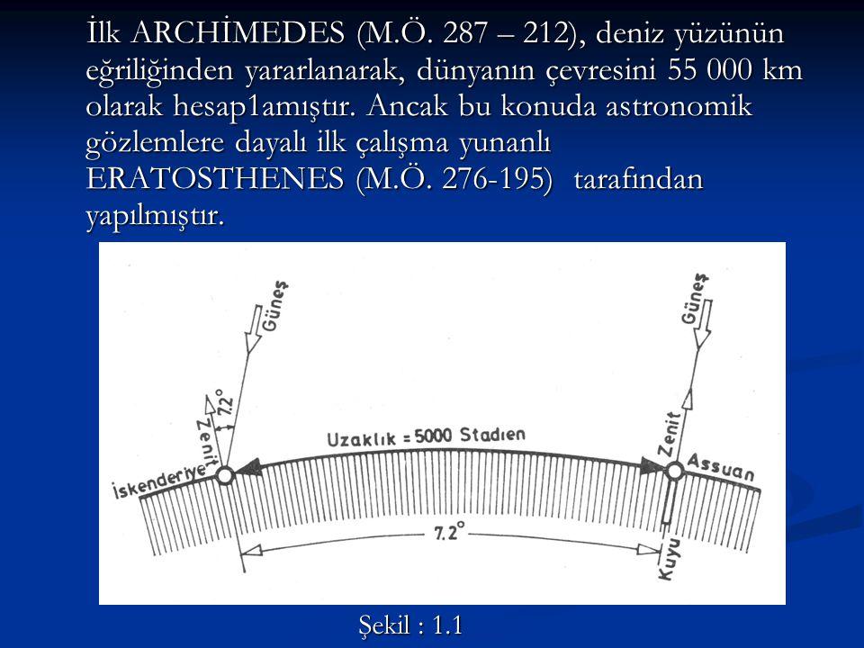 İlk ARCHİMEDES (M.Ö. 287 – 212), deniz yüzünün eğriliğinden yararlanarak, dünyanın çevresini 55 000 km olarak hesap1amıştır. Ancak bu konuda astronomi