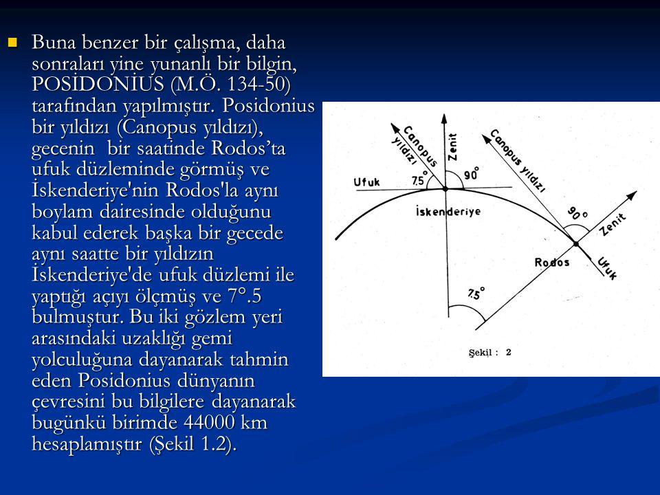 Buna benzer bir çalışma, daha sonraları yine yunanlı bir bilgin, POSİDONİUS (M.Ö. 134-50) tarafından yapılmıştır. Posidonius bir yıldızı (Canopus yıld
