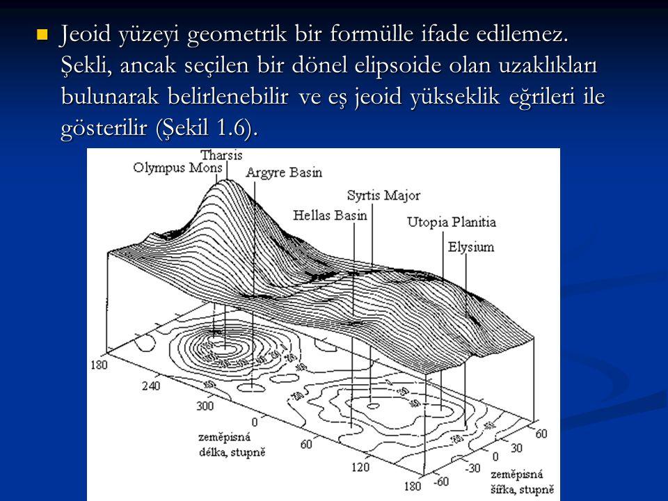 Jeoid yüzeyi geometrik bir formülle ifade edilemez. Şekli, ancak seçilen bir dönel elipsoide olan uzaklıkları bulunarak belirlenebilir ve eş jeoid yük