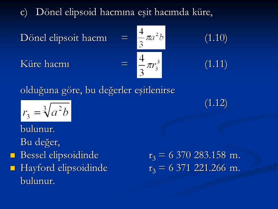 c) Dönel elipsoid hacmına eşit hacımda küre, Dönel elipsoit hacmı = (1.10) Küre hacmı = (1.11) olduğuna göre, bu değerler eşitlenirse (1.12)bulunur. B