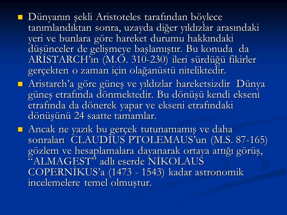 Dünyanın şekli Aristoteles tarafından böylece tanımlandıktan sonra, uzayda diğer yıldızlar arasındaki yeri ve bunlara göre hareket durumu hakkındaki d