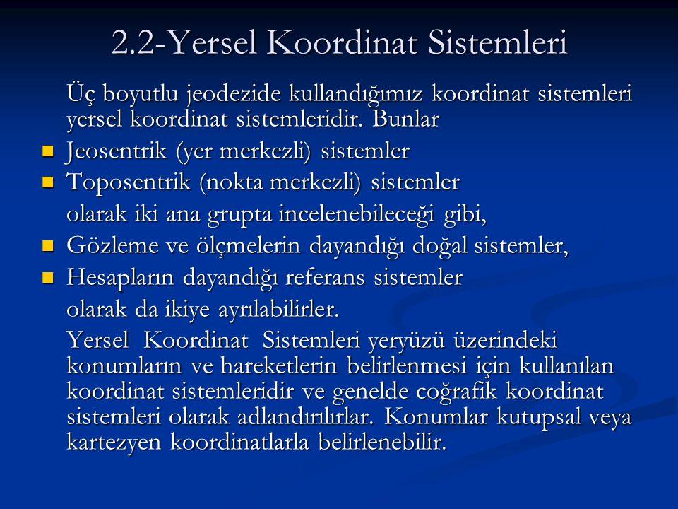 2.2-Yersel Koordinat Sistemleri Üç boyutlu jeodezide kullandığımız koordinat sistemleri yersel koordinat sistemleridir. Bunlar Jeosentrik (yer merkezl