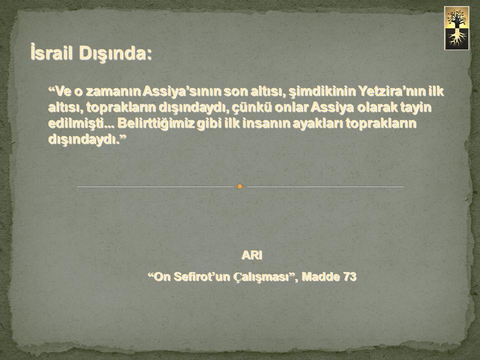 """"""" Ve o zamanın Assiya'sının son altısı, şimdikinin Yetzira'nın ilk altısı, toprakların dışındaydı, çünkü onlar Assiya olarak tayin edilmişti... Belirt"""