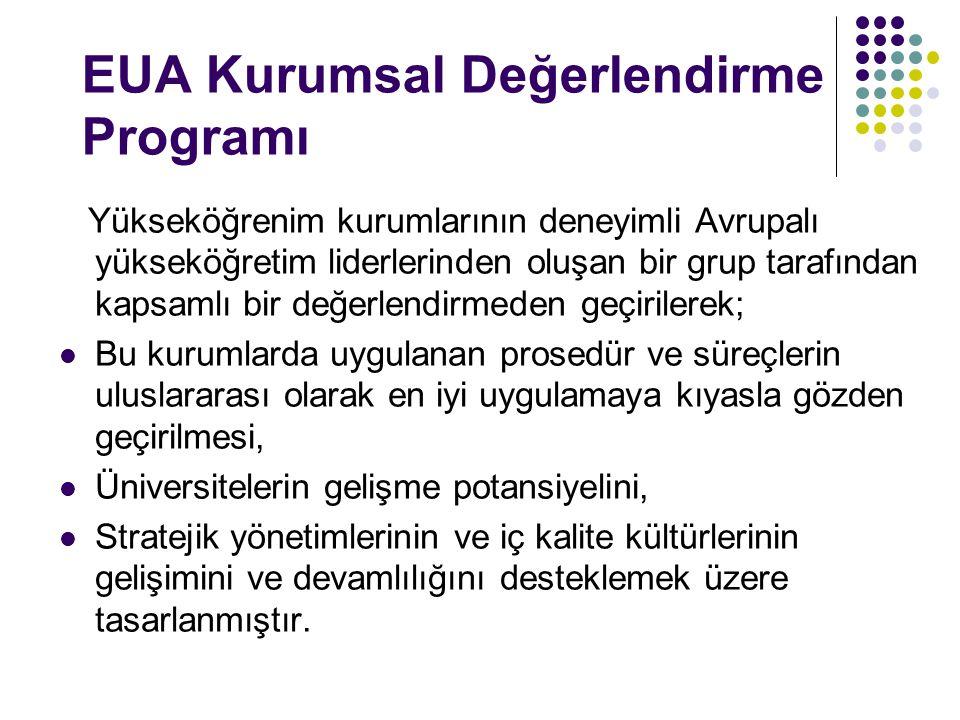 EUA Kurumsal Değerlendirme Programı Yükseköğrenim kurumlarının deneyimli Avrupalı yükseköğretim liderlerinden oluşan bir grup tarafından kapsamlı bir
