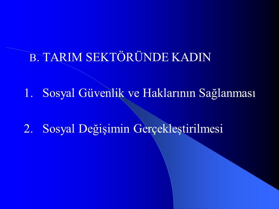 B. TARIM SEKTÖRÜNDE KADIN 1. Sosyal Güvenlik ve Haklarının Sağlanması 2. Sosyal Değişimin Gerçekleştirilmesi