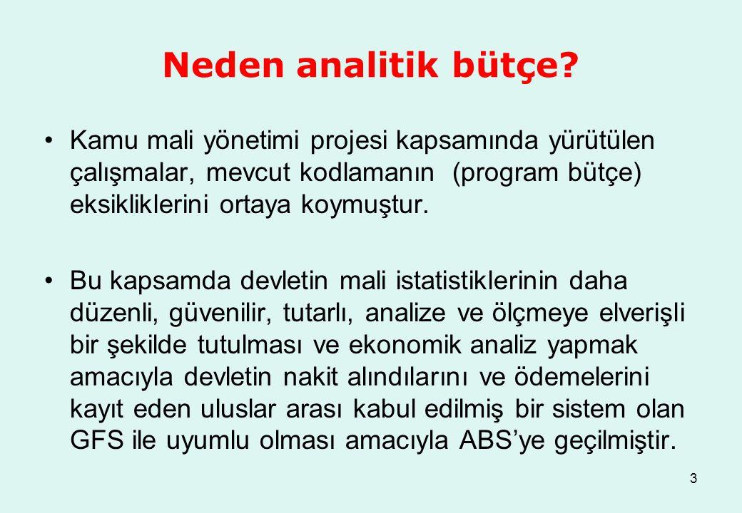 3 Neden analitik bütçe? Kamu mali yönetimi projesi kapsamında yürütülen çalışmalar, mevcut kodlamanın (program bütçe) eksikliklerini ortaya koymuştur.