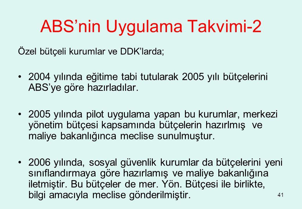 41 Özel bütçeli kurumlar ve DDK'larda; 2004 yılında eğitime tabi tutularak 2005 yılı bütçelerini ABS'ye göre hazırladılar. 2005 yılında pilot uygulama