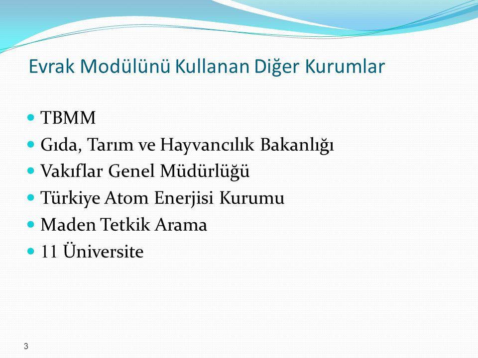 Evrak Modülünü Kullanan Diğer Kurumlar 3 TBMM Gıda, Tarım ve Hayvancılık Bakanlığı Vakıflar Genel Müdürlüğü Türkiye Atom Enerjisi Kurumu Maden Tetkik Arama 11 Üniversite