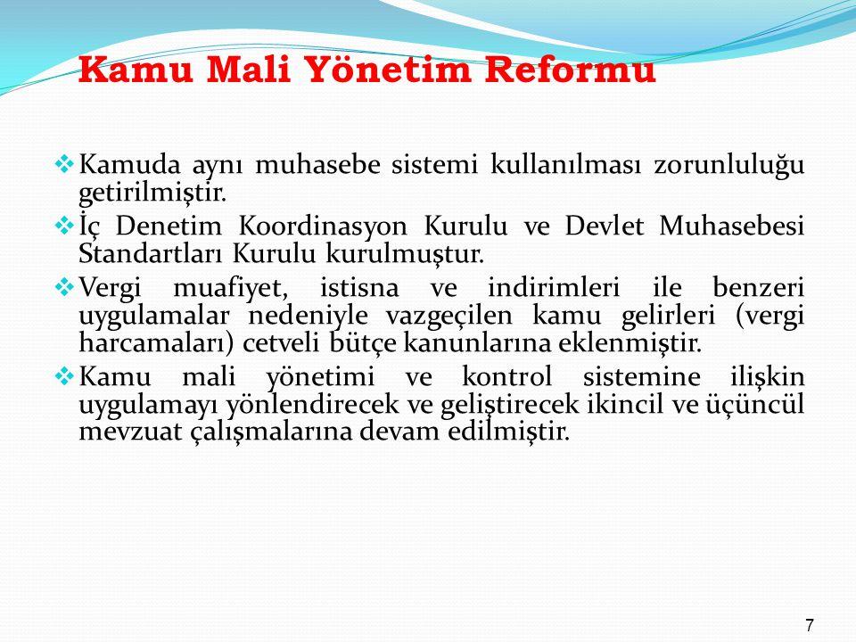 Kamu Mali Yönetim Reformu  Kamuda aynı muhasebe sistemi kullanılması zorunluluğu getirilmiştir.  İç Denetim Koordinasyon Kurulu ve Devlet Muhasebesi
