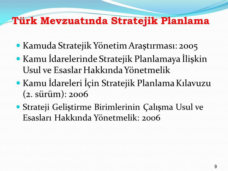 Türk Mevzuatında Stratejik Planlama Kamuda Stratejik Yönetim Araştırması: 2005 Kamu İdarelerinde Stratejik Planlamaya İlişkin Usul ve Esaslar Hakkında