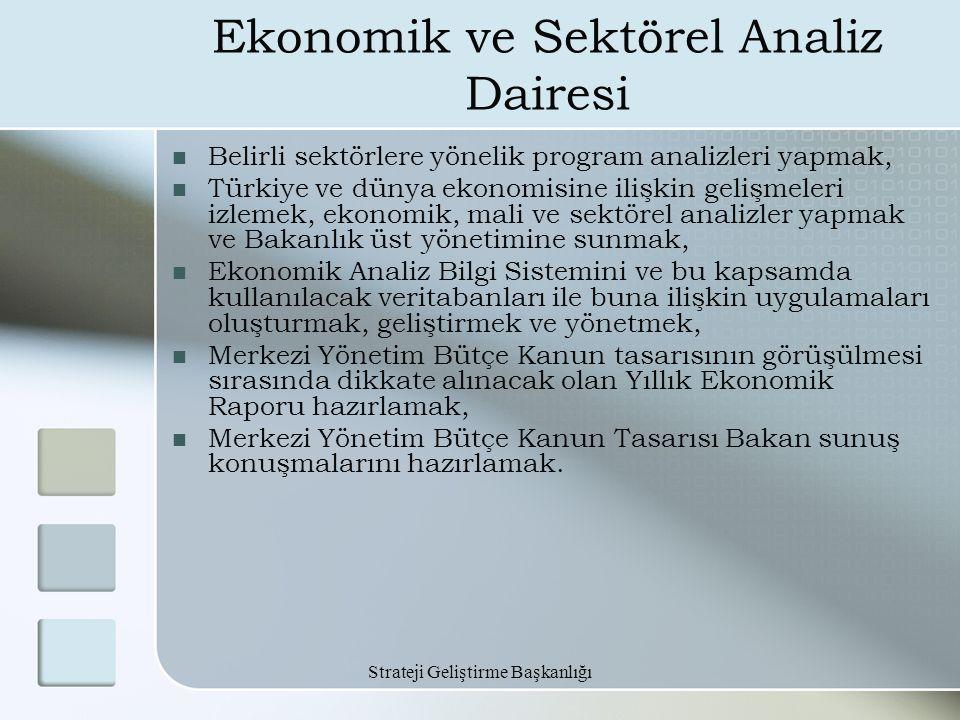 Strateji Geliştirme Başkanlığı Ekonomik ve Sektörel Analiz Dairesi Belirli sektörlere yönelik program analizleri yapmak, Türkiye ve dünya ekonomisine