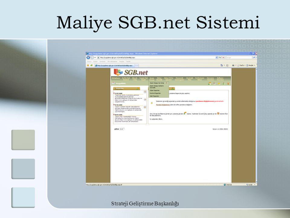 Strateji Geliştirme Başkanlığı Maliye SGB.net Sistemi