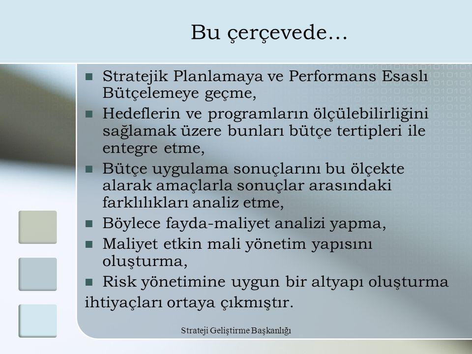 Strateji Geliştirme Başkanlığı Bu çerçevede… Stratejik Planlamaya ve Performans Esaslı Bütçelemeye geçme, Hedeflerin ve programların ölçülebilirliğini