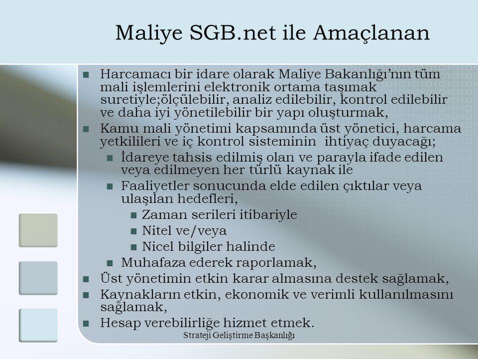 Strateji Geliştirme Başkanlığı Maliye SGB.net ile Amaçlanan Harcamacı bir idare olarak Maliye Bakanlığı'nın tüm mali işlemlerini elektronik ortama taş